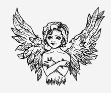 Little Angel With Wings. Ink Hand Drawn Illustration. Handmade Graphic.