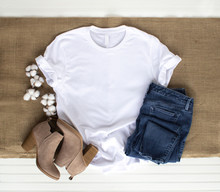 White Shirt Mockup - Tshirt With Cotton Plant, Burlap, Boots & Jeans