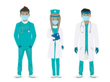 Medical Staff. Doctors Team In Masks On A White Background. Vector Illustration In A Flat Style.
