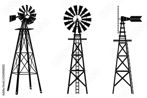 Fotografía Windmill silhouette illustration vector