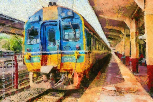Diesel trains of Thai trains parked at the train station Illustrations creates an impressionist style of painting Canvas Print