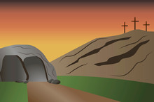 An Empty Tomb With Three Cross...