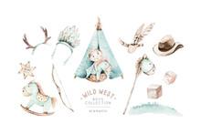 Western Baby Boy Cowboy In Cowboy Hat On Hay Bales Watercolor Illustration. Cartoon Sheriff Ans American Tribes Teepee Design. Wild West Birthday Invitation