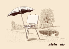 .Plein Air. Vintage Image Of The French Style Easel With A Canvas, A Palette, A Brush And An Umbrella On The River Bank. Painting In The Open Air.