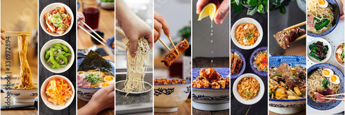 Photo Horizontal row collage with various Asian Japanese dishes in a traditional blue