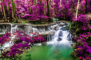 Panel Szklany Drzewa amazing of huay mae kamin waterfall in colorful autumn forest at Kanchanaburi, thailand
