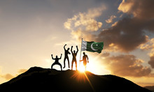 A Group Of People Celebrate On A Mountain Top With Pakistan Flag. 3D Render