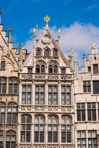 Grote Markt, Antwerp, city square with the town hall, carefully designed guilds of the 16th century, many restaurants and cafes Poster Mural XXL