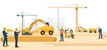 Baustelle Mit Bagger Und Schweren Lastwagen