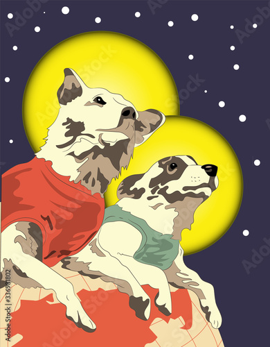 Obraz vector illustration, retro postcard with Belka and Strelka in space, dogs in space - fototapety do salonu