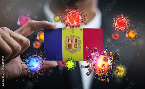 Corona Virus Around Andorra Flag Wallpaper Mural