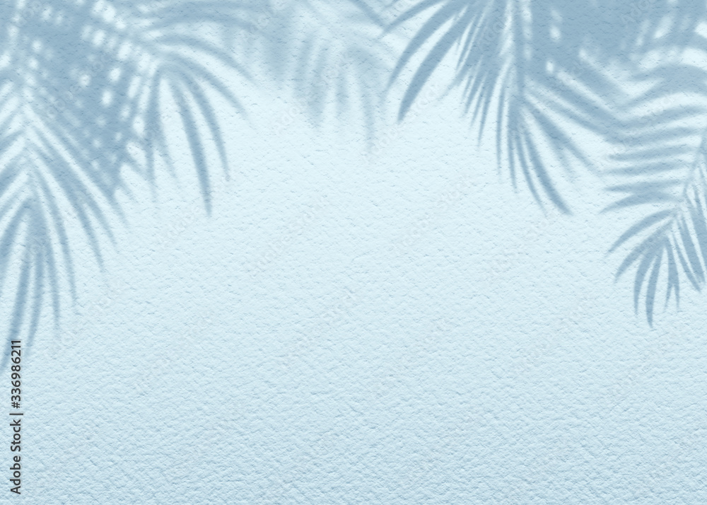 White blue grunge cement texture wall leaf plant shadow background.Summer tropical travel beach with minimal clean concept. Flat lay palm nature.