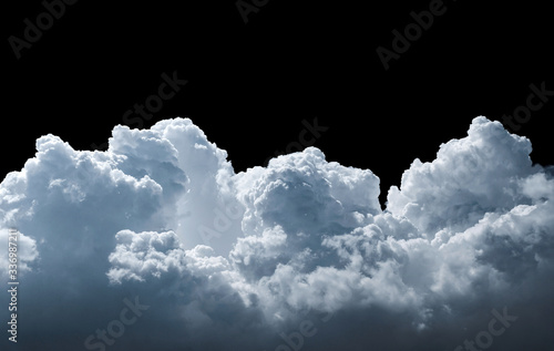 Clouds isolated on black background. White cloudiness, mist or smog background.