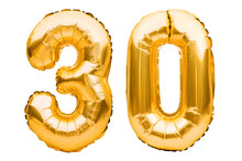 Number 30 Thirty Made Of Golden Inflatable Balloons Isolated On White. Helium Balloons, Gold Foil Numbers. Party Decoration, Anniversary Sign For Holidays, Celebration, Birthday, Carnival