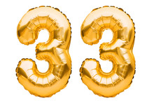Number 33 Thirty Three Made Of Golden Inflatable Balloons Isolated On White. Helium Balloons, Gold Foil Numbers. Party Decoration, Anniversary Sign For Holidays, Celebration, Birthday, Carnival
