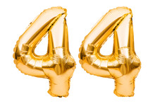 Number 44 Forty Four Made Of Golden Inflatable Balloons Isolated On White. Helium Balloons, Gold Foil Numbers. Party Decoration, Anniversary Sign For Holidays, Celebration, Birthday, Carnival