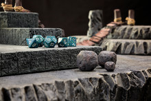A Close Up Of A Gaming Set Up For A Dungeons And Dragons Type Role Playing Game.
