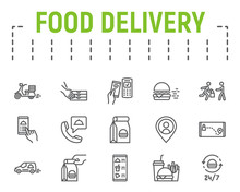 Food Delivery Line Icon Set, F...