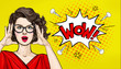 canvas print picture - Surprised Pop Art woman in hipster glasses. Advertising poster or party invitation with sexy club girl with open mouth in comic style. Presenting your product. Expressive facial expressions