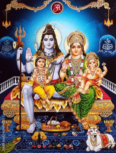 Carta da parati ganesha baby hinduism lord shiva spiritual  Saraswati holy power ox white illust