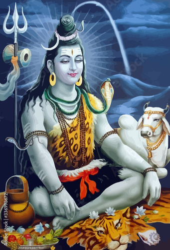 Fotografia hinduism lord shiva spiritual  snake power mind bless holy illustration