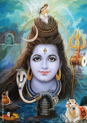 Fotografie, Obraz lord shiva god  hinduism ox snake  animal spiritual illustration holy