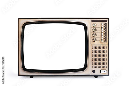 Fototapeta Retro old television cut out white screen isolated on white background, clipping