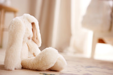Stuffed Toy Bunny On The Floor