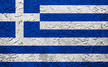 Greece Flag On Crumbled Wall