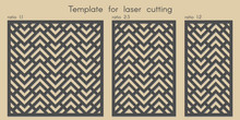 Template For Laser Cutting. Stencil For Panels Of Wood, Metal. Geometric Pattern. Abstract Background For Cut. Vector Illustration. Decorative Cards. Ratio 1:1, 2:3, 1:2.