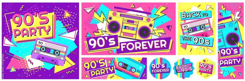 Fototapeta Retro 90s music party poster. Back to the 90s, nineties forever banner and retro funky pop radio badge vector illustration set. Music cassette 90s, trendy sound flyer