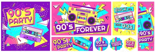Retro 90s music party poster. Back to the 90s, nineties forever banner and retro funky pop radio badge vector illustration set. Music cassette 90s, trendy sound flyer