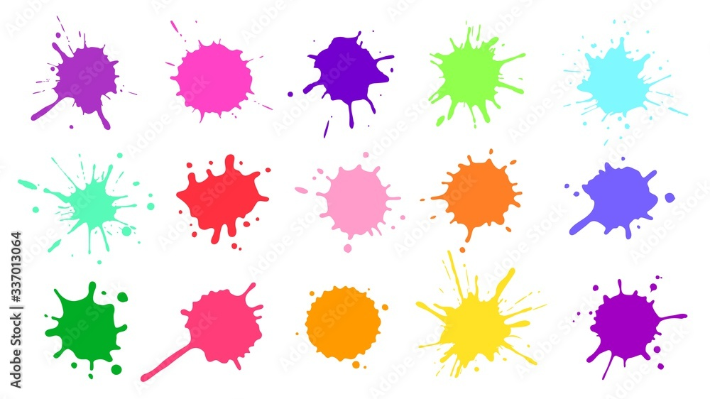 Fototapeta Color paint splatter. Colorful ink stains, abstract paints splashes and wet splats. Watercolor or slime stain vector set. Colorfull stain and splash, splat messy, inkblot splashing illustration