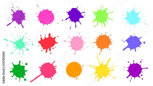 Obraz Color paint splatter. Colorful ink stains, abstract paints splashes and wet splats. Watercolor or slime stain vector set. Colorfull stain and splash, splat messy, inkblot splashing illustration - fototapety do salonu