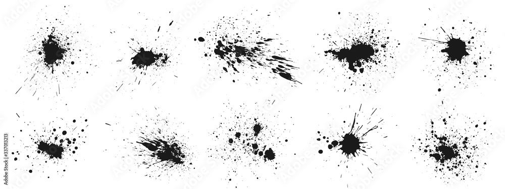 Fototapeta Grunge ink splatter. Splash of paints, spray drops staining and frame with wet paint drop traces vector set. Illustration splash and drip design, silhouette blob spray collection