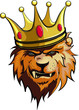 lion, king with crown vector illustration