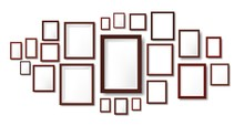 Dark Wooden Frames Composition Mockup. Photo Frame Hanging On Wall, Pictures Grid And Wood Borders Vector Illustration Template. Frame Exhibition Photo, Framework Empty On Wall