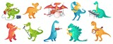 Fototapeta Dino - Dinosaur play music. Tyrannosaurus rockstar play guitar, dino drummer and cartoon dinosaurs musicians vector illustration set. Dinosaur tyrannosaurus musician, character with guitar