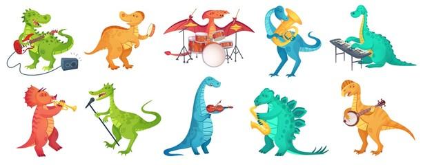 Dinosaur play music. Tyrannosaurus rockstar play guitar, dino drummer and cartoon dinosaurs musicians vector illustration set. Dinosaur tyrannosaurus musician, character with guitar