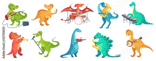 Dinosaur play music. Tyrannosaurus rockstar play guitar, dino drummer and cartoon dinosaurs musicians vector illustration set. Dinosaur tyrannosaurus musician, character with guitar