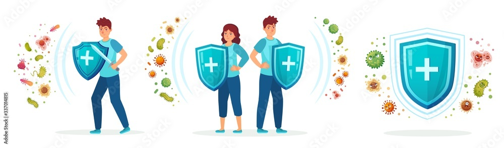 Fototapeta Virus germs and bacteria protection. Healthy immune system, adult man and woman protected from viruses and bacterias by immunity shield vector iilustration set. Person resistant and prevention disease
