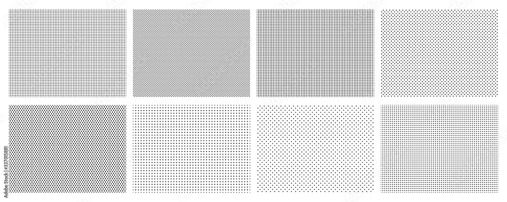 Fototapeta Seamless halftone dots pattern. Dotted mosaic, sport textile texture and row holes grid vector background patterns set. Halftone wallpaper, graphic point polka illustration