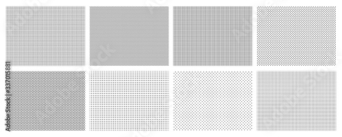 Obraz Seamless halftone dots pattern. Dotted mosaic, sport textile texture and row holes grid vector background patterns set. Halftone wallpaper, graphic point polka illustration - fototapety do salonu