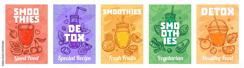 Fototapeta Detox smoothie poster. Good food smoothies, juices for healthy lifestyle and colorful fresh juices vector illustration set. Healthy fresh smoothie, glass detox, vegan beverage