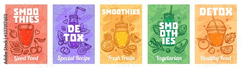 Fototapeta Detox smoothie poster. Good food smoothies, juices for healthy lifestyle and colorful fresh juices vector illustration set. Healthy fresh smoothie, glass detox, vegan beverage obraz