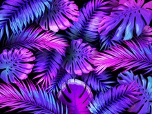 Neon Color Tropical Leaves. Tr...