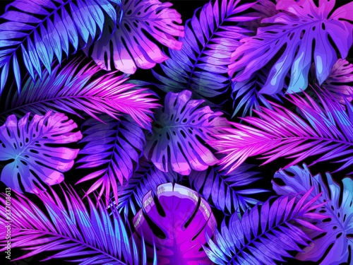 Fotografia Neon color tropical leaves