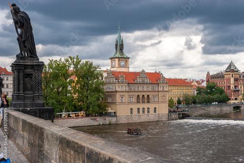 Fotografie, Obraz praga, Museo Smetana, fiume moldava, ponte san carlo, repubblica ceca, panorama