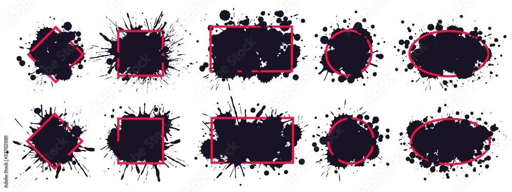 Fototapeta Ink splatter frame. Dirty brush splatted stains, black paintbrush splash frame grunge sprayed inks drips borders vector. Red frame paintbrush, splatted and sprayed, black monochrome drip illustration