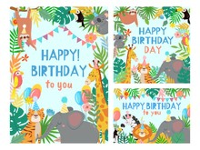 Cartoon Happy Birthday Animals Card. Congratulations Cards With Cute Safari Or Jungle Animals Party In Tropical Forest Vector Illustration Set. Congratulation Card, Happiness Africa Animals Frame
